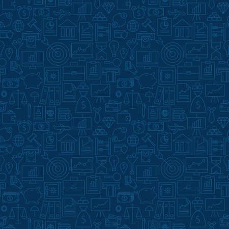 씬 뱅킹 라인 비즈니스 금융 어두운 파란색 원활한 패턴입니다. 벡터 돈 디자인 및 유행 현대 선 스타일에서 원활한 배경. 얇은 윤곽선 아트