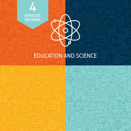 Thin Line Education Science School Patterns Set. Four Vector Knowledge and Wisdom Design and Seamless Background in Trendy Modern Line Style.  イラスト・ベクター素材
