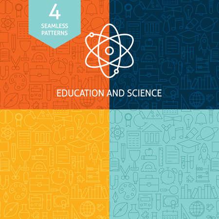 Thin Line Onderwijs Science School Patterns Set. Vier Vector Kennis en Wijsheid Ontwerp en naadloze achtergrond in Trendy Modern Line Style.