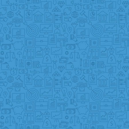 Thin Finance Line Money Banking Seamless Blue Pattern. Vector Business Design and Seamless Background in Trendy Modern Line Style. Thin Outline Art Vettoriali