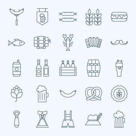 선 홀리데이 옥토버 페스트와 맥주 아이콘 번들. 웹 및 모바일 25 년 10 월 휴일 현대 줄 아이콘의 집합입니다. 맥주와 알코올 아이콘 모음