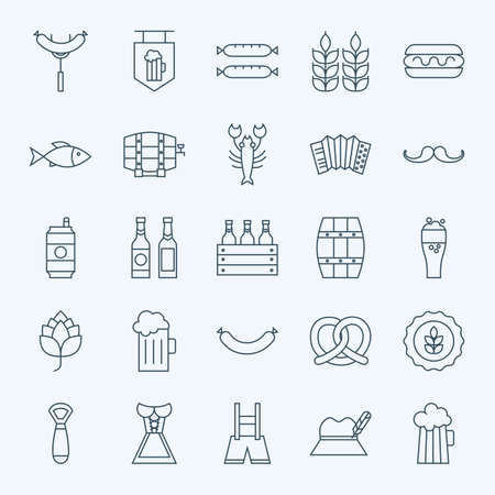 Line Holiday Oktoberfest and Beer Icons Bundle. Vector Set of 25 October Holiday Modern Line Icons for Web and Mobile. Beer and Alcohol Icons Collection Vettoriali