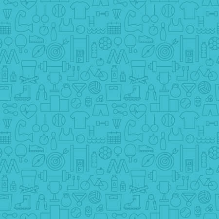 Thin Healthy Lifestyle Line Fitness Dieting Blue Seamless Pattern. Vector Sport Design and Seamless Background in Trendy Modern Line Style. Thin Outline Art 일러스트