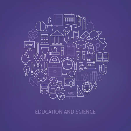 university students: Thin Line Education Science School Icons Set Circle Shaped Concept. Vector Illustration of Knowledge and Learning Objects over Blurred Purple Background Illustration