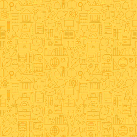 Thin School Line Education Graduation Seamless Yellow Pattern. Vector Science Design and Seamless Background in Trendy Modern Line Style. Thin Outline Art Illustration