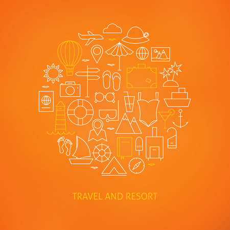 cocktail drinks: Thin Line Summer Holiday Travel Icons Set Circle Shaped Concept. Vector Illustration of Resort and Beach Resort Objects over Blurred Orange Background