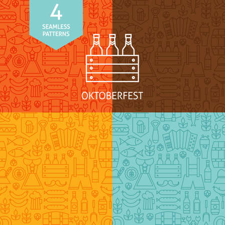 Thin Line Oktoberfest Beer Holiday Patterns Set. Four Vector German Party Festival Design and Seamless Background in Trendy Modern Line Style. Illustration