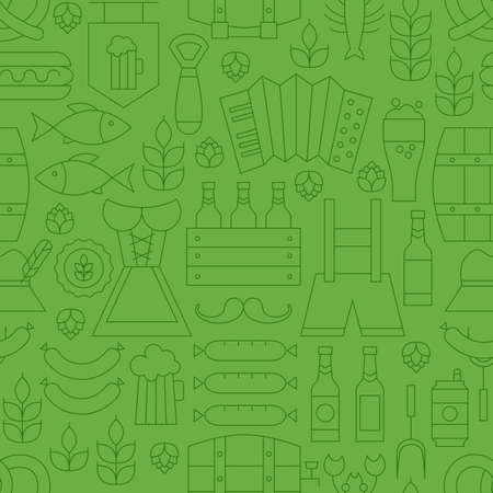 barrel tile: Thin Line Oktoberfest Holiday Seamless Green Pattern. Vector German Beer Party Design and Seamless Background in Trendy Modern Line Style. Thin Outline Art