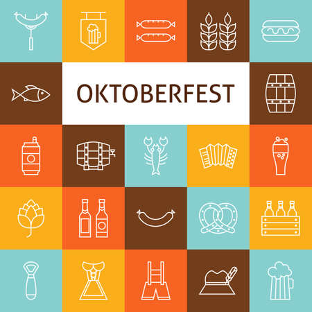 barrel tile: Vector Line Art Modern Oktoberfest Beer Holiday Icons Set. Alcohol Beer Icons Set over Colorful Tile. Vector Set of 25 Party Festival Modern Line Icons for Web and Mobile
