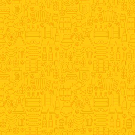 barrel tile: Thin Holiday Line Oktoberfest Yellow Seamless Pattern. Vector German Beer Party Design and Seamless Background in Trendy Modern Line Style. Thin Outline Art Illustration