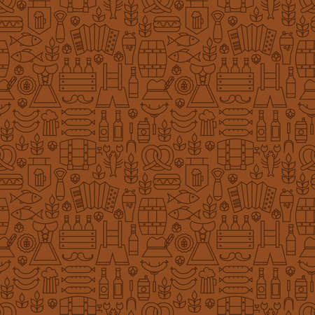 barrel tile: Thin Alcohol Beer Line Oktoberfest Seamless Brown Pattern. Vector German Party Design and Seamless Background in Trendy Modern Line Style. Thin Outline Art