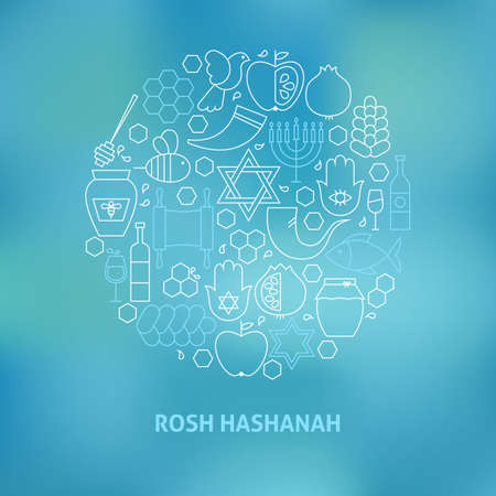 holiday icons: Thin Line Jewish New Year Holiday Icons Set Circle Shaped Concept. Vector Illustration of Rosh Hashanah Objects over Blurred Blue Background. Israel Judaism Religion