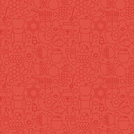 얇은 휴가 줄 유대인 새 해 레드 연속 패턴. 벡터로시 하 사 나 디자인 및 최신 유행 선 스타일에서 원활한 배경. 얇은 개요 예술. 이스라엘 유대교의 종 일러스트