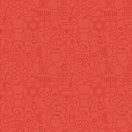 judaism: Thin Holiday Line Jewish New Year Red Seamless Pattern. Vector Rosh Hashanah Design and Seamless Background in Trendy Modern Line Style. Thin Outline Art. Israel Judaism Religion