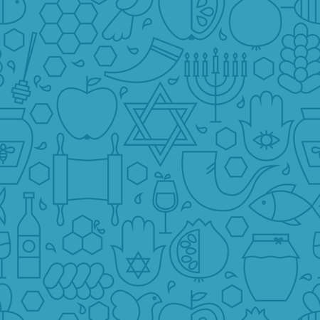sabbath: Thin Line Holiday Rosh Hashanah Blue Seamless Pattern. Vector Jewish New Year Design and Seamless Background in Trendy Modern Line Style. Thin Outline Art. Israel Judaism Religion