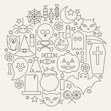 treats: Halloween Holiday Line Icons Set Circular Shaped. Vector Illustration of Scary Autumn Sweets and Treats Objects. Graph and Infographics. October Holiday Items.
