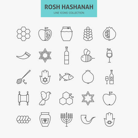 Line Jewish New Year Holiday Icons Big Set. Vector Collection of 25 Autumn Rosh Hashanah Holiday   Modern Thin Line Icons for Web and Mobile. Israel Traditional Icons Bundle Vettoriali