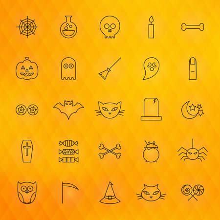 treats: Halloween Thin Line Icons Set. Vector Collection of Scary Autumn Holiday Modern Thin Line Icons for Web and Mobile over Orange Polygonal Blurred Abstract Background. Sweets and Treats