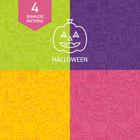 treats: Thin Line Halloween Holiday Patterns Set. Four Vector Scary Autumn Party Design and Seamless Background in Trendy Modern Line Style. Sweets and Treats