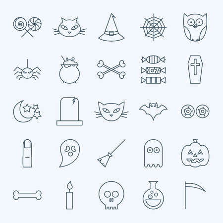 treats: Line Holiday Halloween Icons Set. Vector Set of 25 October Holiday Modern Line Icons for Web and Mobile. Sweets and Treats Scary Icons Collection