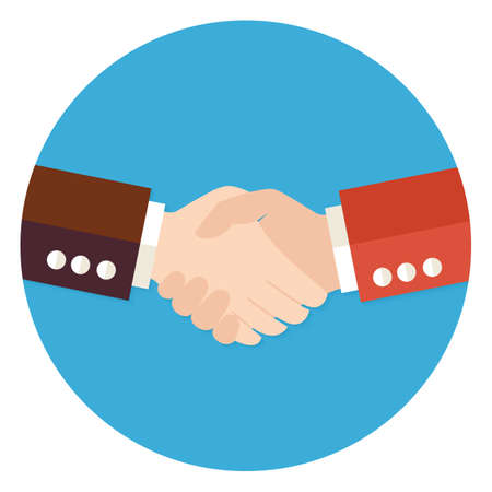 business people shaking hands: Illustration of Two Businessmen Partnership Flat Circle Icon. Vector Illustration. Teamwork and Work Relationships Illustration