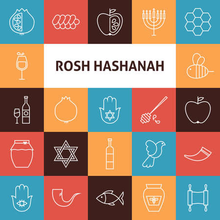 jewish new year: Line Art Rosh Hashanah Jewish New Year Holiday Icons Set. Vector Collection of 25 Modern Line Icons for Web and Mobile. Israel Traditional Bundle