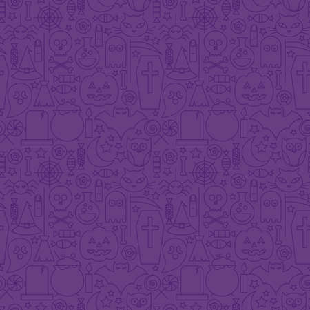 treats: Thin Holiday Line Halloween Purple Seamless Pattern. Vector Scary Party Design and Seamless Background in Trendy Modern Line Style. Thin Outline Art. Sweets and Treats