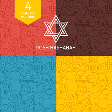 Thin Line Rosh Hashanah Holiday Patterns Set. Four Vector Jewish New Year Design and Seamless Background in Trendy Modern Line Style. Israel Judaism Religion