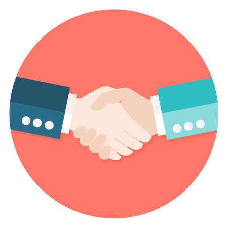 handshake: Illustration of Two Businessmen Shaking Hands Flat Circle Icon. Vector Illustration. Teamwork and Work Relationships