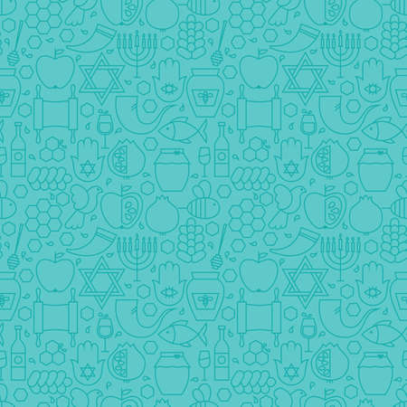 Thin Line Jewish New Year Holiday Seamless Blue Pattern. Vector Rosh Hashanah Design and Seamless Background in Trendy Modern Line Style. Thin Outline Art. Israel Judaism Religion