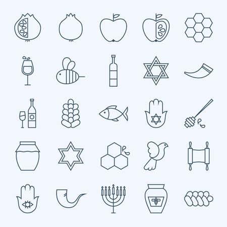 Line Holiday Rosj Hasjana Icons Set. Vector Set van 25 Joodse Nieuwjaar Holiday Modern Line Pictogrammen voor Web en Mobile. Israël Jodendom Icons Collection