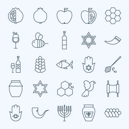 Line Holiday Rosh Hashanah Icons Set. Vector Set of 25 Jewish New Year Holiday Modern Line Icons for Web and Mobile. Israel Judaism Icons Collection