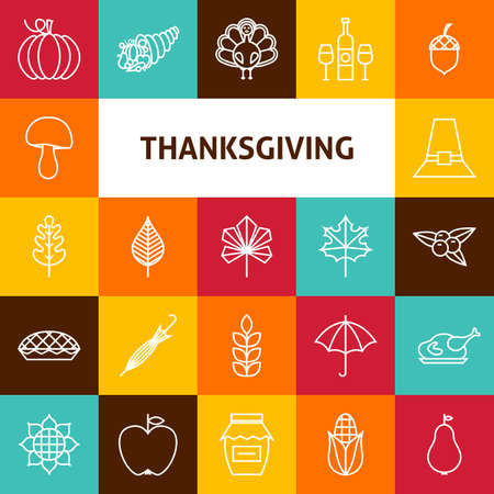 thanksgiving day symbol: Line Art Ringraziamento Day Holiday Icons Set. Vector Collection di 25 moderna linea di icone per il Web e Mobile. Thanksgiving Dinner tradizionale Bundle