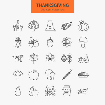 holiday icons: Line Thanksgiving Day Holiday Icons Big Set. Vector Collection of 25 Autumn Thanksgiving Holiday  Modern Thin Line Icons for Web and Mobile. Food Dinner Traditional Icons Bundle