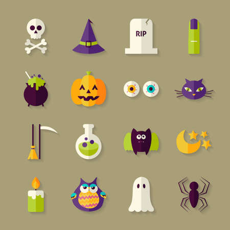 treats: Flat Magic Halloween Witch Objects Set with Shadow. Flat Style Vector Illustrations. Autumn Halloween Party Holiday. Tricks and Treats Set. Collection of Objects over Beige Background Illustration