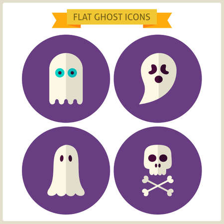 treats: Flat Spirit Ghost Website Icons Set. Vector Illustration. Collection of October Magic Holiday Halloween Party Colorful Circle Icons. Tricks and Treats. Design Elements for Website Mobile Application