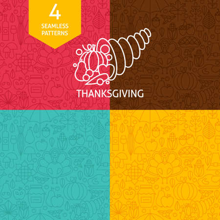 thanksgiving day symbol: Thin Line Thanksgiving Day Holiday Patterns Set. Four Vector Autumn Thanksgiving Dinner Design and Seamless Background in Trendy Modern Line Style. Traditional National Celebration Vettoriali