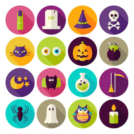 treats: Flat Magic Halloween Witch Circle Icons Set with long Shadow. Flat Styled Vector Illustrations. Autumn Halloween Party Holiday. Tricks and Treats Set. Collection of Circle Icons Illustration