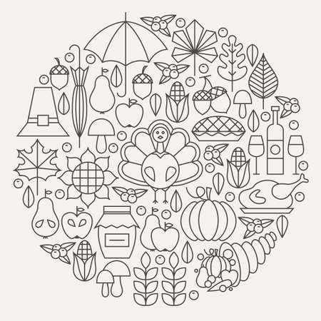추수 감사절 휴일 줄 아이콘 원 개념을 설정합니다. 추수 감사절 저녁 식사가 개체의 벡터 일러스트 레이 션. 전통적인 국가 식품 항목.