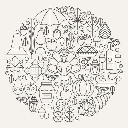 Thanksgiving Day Holiday Line Pictogrammen Circle Concept. Vector illustratie van het Diner van de herfst objecten. Traditionele Items National Food.