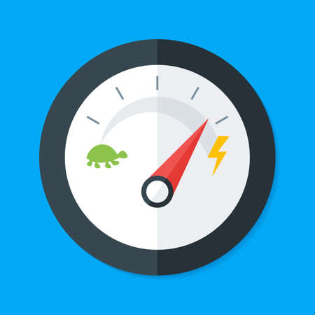 Speedometer Flat Style. Vector Illustration of Flat Design Speedometer. Measurement Equipment Çizim