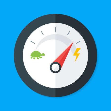 Speedometer Flat Style. Vector Illustration of Flat Design Speedometer. Measurement Equipment Vectores