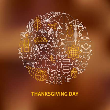 flaco: Thin Line Thanksgiving Day Holiday Icons Set círculo en forma de concepto. Ilustración del vector de la acción de gracias Cena Objetos sobre fondo borroso. Cena Nacional Tradicional
