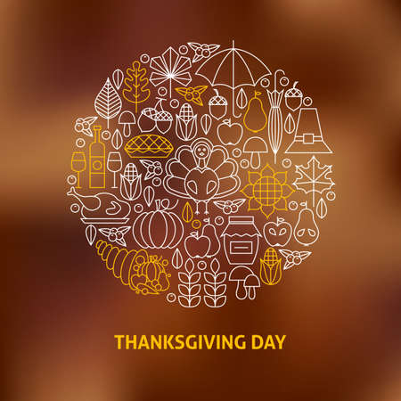 thanksgiving: Thin Line Thanksgiving Day Holiday Icons Set Circle Shaped Concept. Vector Illustration of Thanksgiving Dinner Objects over Blurred Background. Traditional National Dinner