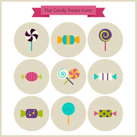treats: Flat Candy Sweets Treats Icons Set. Vector Illustration. Collection of October Holiday Halloween Party Colorful Circle Icons. Tricks and Treats. Food Design Elements for Website and Mobile Application Illustration