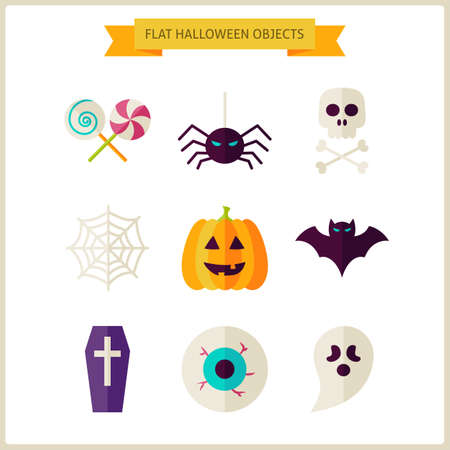 treats: Flat Halloween Trick or Treat Objects Set. Vector Illustration. Collection of Scary Autumn Halloween Party Holiday Objects Isolated over white. Tricks and Treats Concept