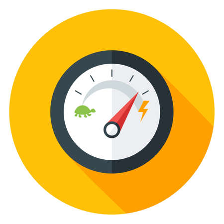 slow: Slow and Fast Speedometer Flat Circle Icon with long Shadow. Vector Illustration of Flat Design Speedometer. Measurement Equipment