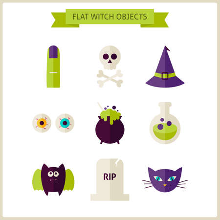 treats: Flat Magic Halloween Witch Objects Set. Vector Illustration. Collection of Scary Autumn Halloween Party Holiday Objects Isolated over white. Tricks and Treats Concept