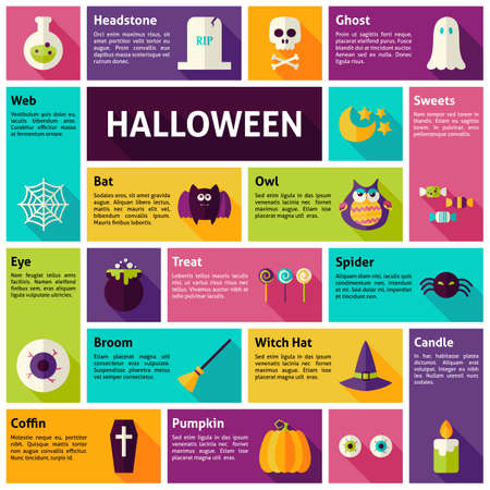 party design: Flat Design Vector Icons Infographic Halloween Holiday Concept. Design elements for mobile and web applications with long shadow. Scary Sweets Trick and Treats Halloween Party Illustration