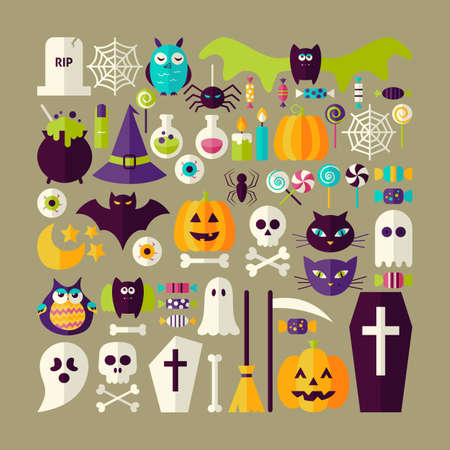 treats: Big Flat Style Vector Collection of Halloween Holiday Objects. Set of Scary October Autumn Halloween Holiday Colorful Objects. Bundle of Tricks and Treats Items. Design Elements